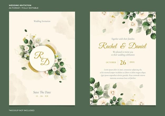 Minimalne zaproszenie na ślub z kwiatowym kolorem wody