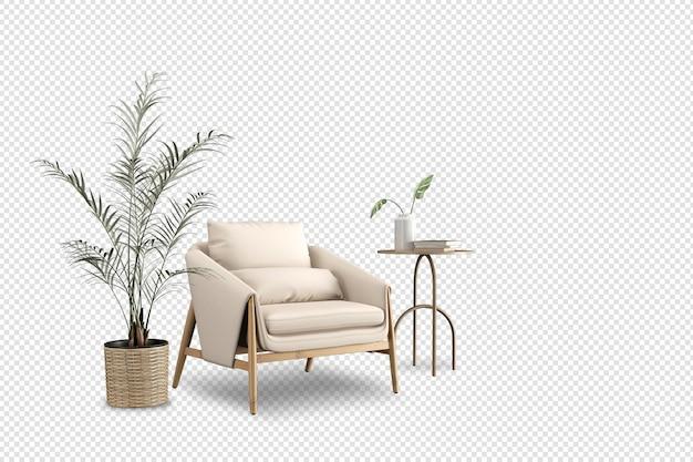 Minimalny fotel i roślina w renderowaniu 3d