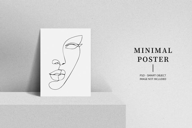Minimalny plakat w renderowaniu projektu białego pokoju