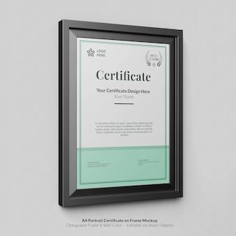 Minimalny portret nowoczesny certyfikat a4 z makietą ramki