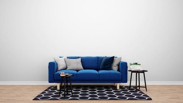 Minimalny salon z niebieską kanapą i dywanem, pomysły na aranżację wnętrz