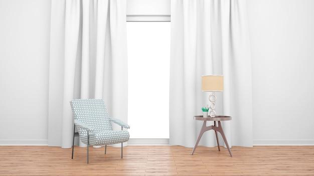 Minimalny salon z pojedynczym krzesłem i stołem nad dużym oknem