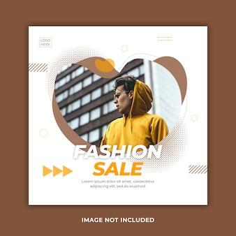 Minimalny stylowy szablon postu w mediach społecznościowych ze sprzedażą mody