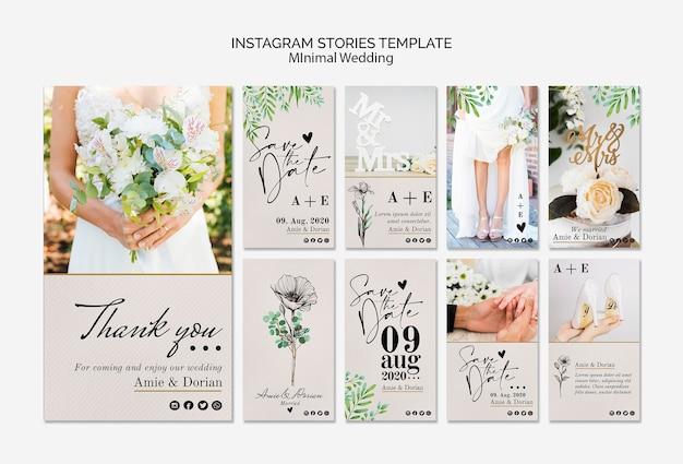 Minimalny szablon historie ślubne instagram