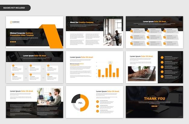 Minimalny szablon prezentacji z przeglądem projektów biznesowych i startowych