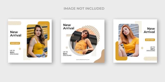 Minimalny zestaw banerów instagram mody