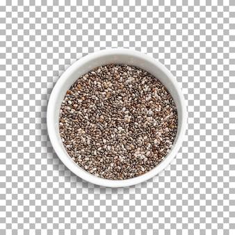 Miska nasion chia na przezroczystym tle