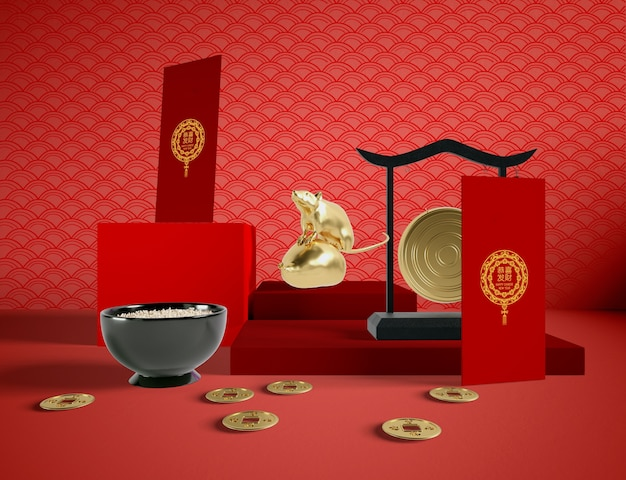 Miska ryżu i złoty szczur chiński nowy rok