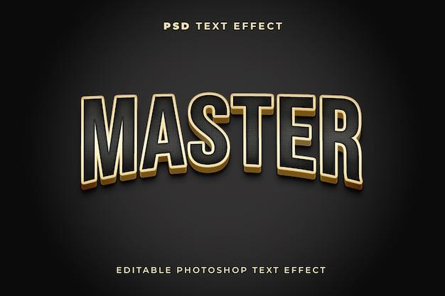 Mistrzowski szablon efektu tekstowego 3d ze złotym kolorem