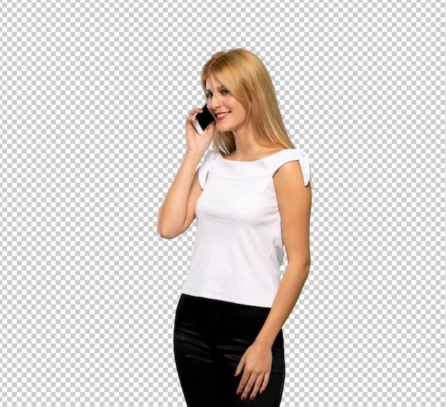 Młoda blondynki kobieta robi selfie