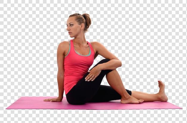 Młoda kobieta robi ćwiczenia jogi, warstwowy plik psd
