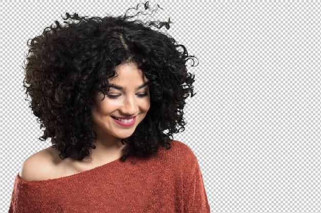 Młoda kobieta szczęśliwa i śmiejąca się