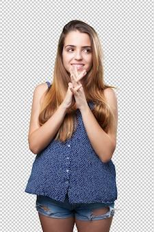 Młoda ładna kobieta myśli