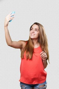 Młoda śliczna kobieta bierze selfie na bielu