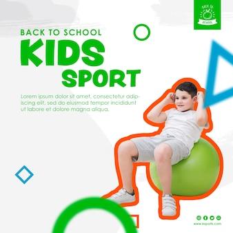 Młody chłopak robi szablon sportu