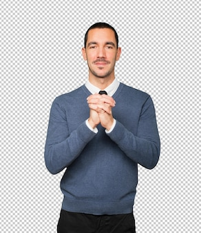 Młody człowiek gestem pracy zespołowej rękami