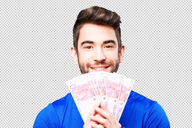 Młody człowiek trzyma rachunki