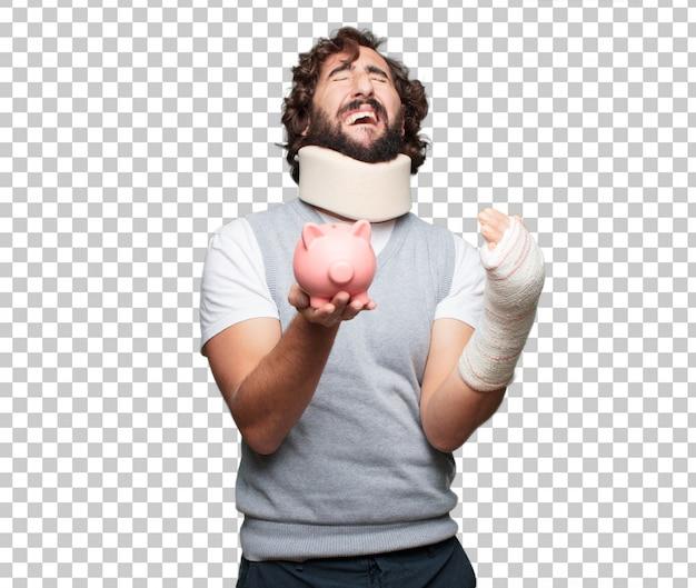 Młody człowiek złamane kości. obrażenia i ofiara wypadku