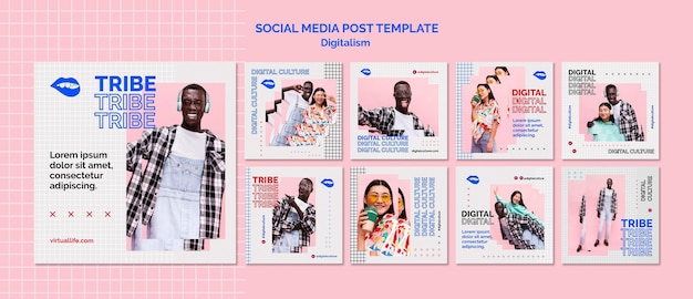 Młody mężczyzna i kobieta w mediach społecznościowych z cyfrową kulturą