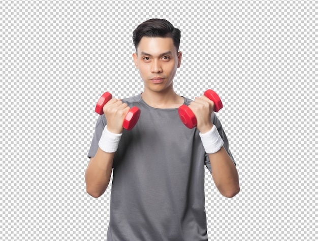 Młody przystojny azjatycki sportowiec ćwiczenia z hantlami