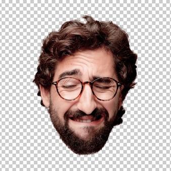 Młody szalony brodaty mężczyzna wycinanki głowy wyrażenie odizolowywający. rola hipster z okularów. smutna koncepcja