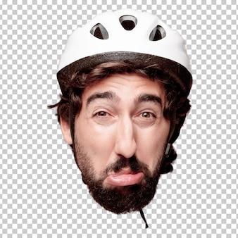 Młody szalony brodaty mężczyzna wycinanki głowy wyrażenie odizolowywający. rola rowerzysty. smutna koncepcja