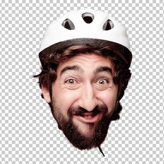 Młody szalony brodaty mężczyzna wycinanki głowy wyrażenie odizolowywający. rola rowerzysty. szczęśliwa pozę