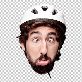 Młody szalony brodaty mężczyzna wycinanki głowy wyrażenie odizolowywający. rola rowerzysty. żartobliwy pomysł