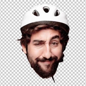 Młody szalony brodaty mężczyzna wycinanki głowy wyrażenie odizolowywający. rola rowerzysty