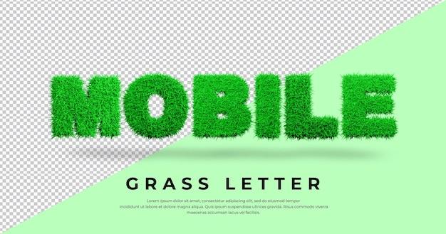 Mobilny tekst listu z 3d trawą