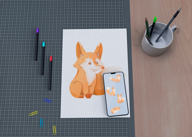 Moch-up artystyczne malowanie na stole