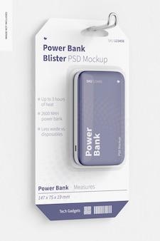 Mockup blister power bank, wiszący