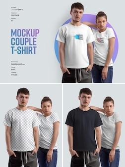 Mockup couple tshirt łatwe w dostosowywaniu kolorów