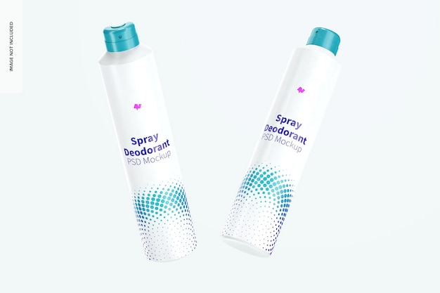 Mockup dezodorantów w sprayu, pływający