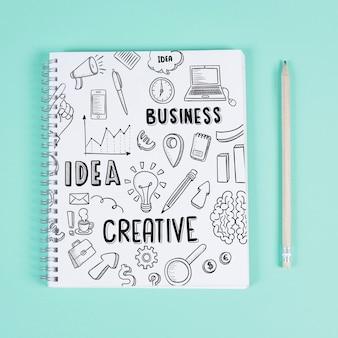 Mockup kreatywnych notatnik