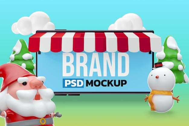 Mockup merry chistmas design rendering 3d
