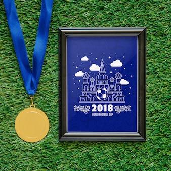 Mockup world cup piłkarski z ramą