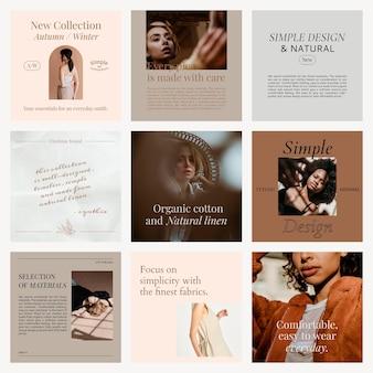Moda edytowalny szablon psd kolekcja mediów społecznościowych