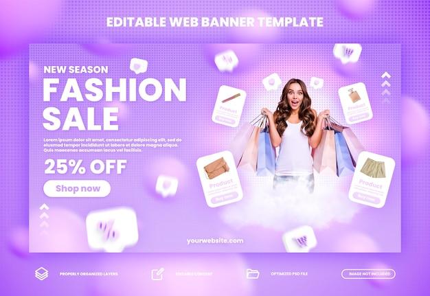 Moda flashowa sprzedaż online, promocja na zakupy online i baner na stronie internetowej premium psd