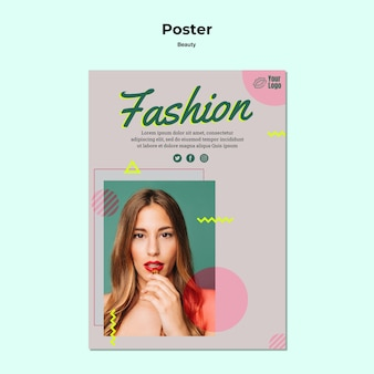 Moda i piękna kobieta plakat szablon