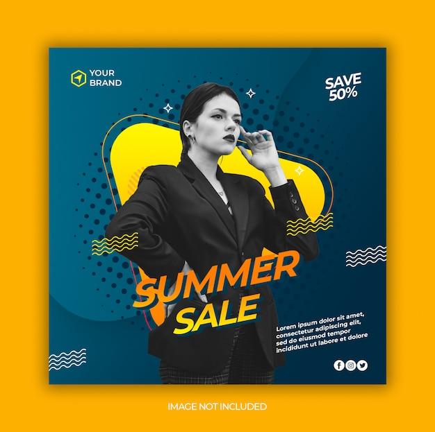 Moda lato sprzedaż mediów społecznościowych i kwadratowy baner internetowy