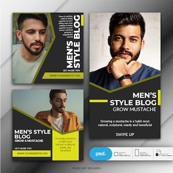 Moda męska web banner szablon mediów społecznościowych