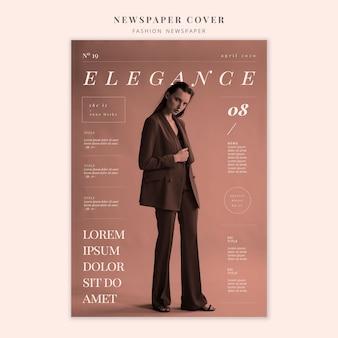 Moda na okładkę gazety eleganckiej kobiety stojącej