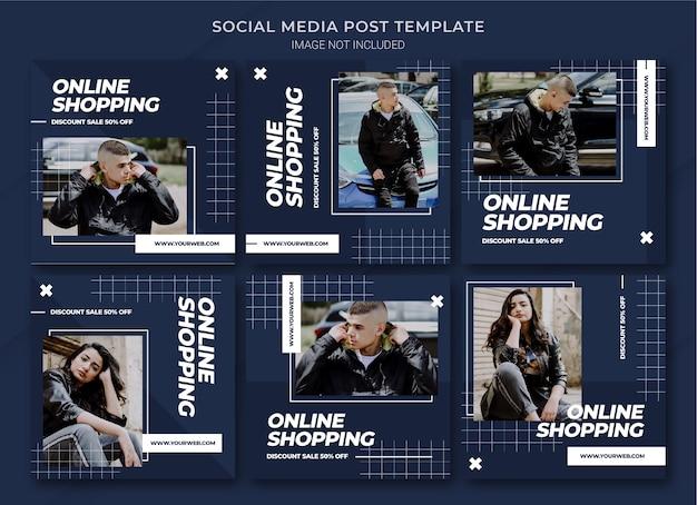 Moda na zakupy online na instagramie szablon pakietu postów