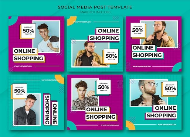 Moda na zakupy online szablon pakietu postów na instagramie