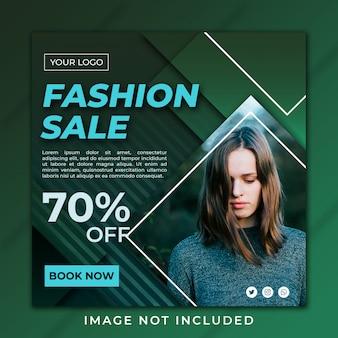 Moda sprzedaż instagram post zielony szablon