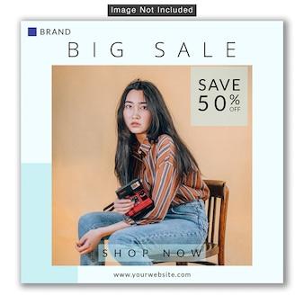 Moda sprzedaż media społecznościowe instagram banner premium psd