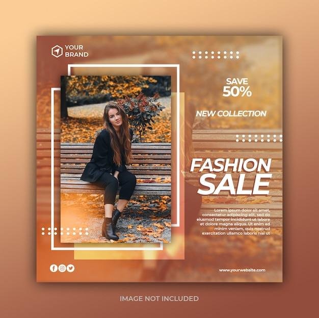 Moda sprzedaż mediów społecznościowych post i kwadratowy szablon transparent www