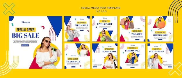 Moda super sprzedaż post w mediach społecznościowych