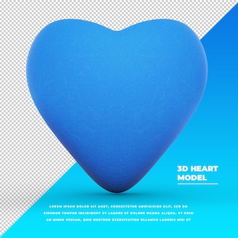 Model 3d niebieskiego serca